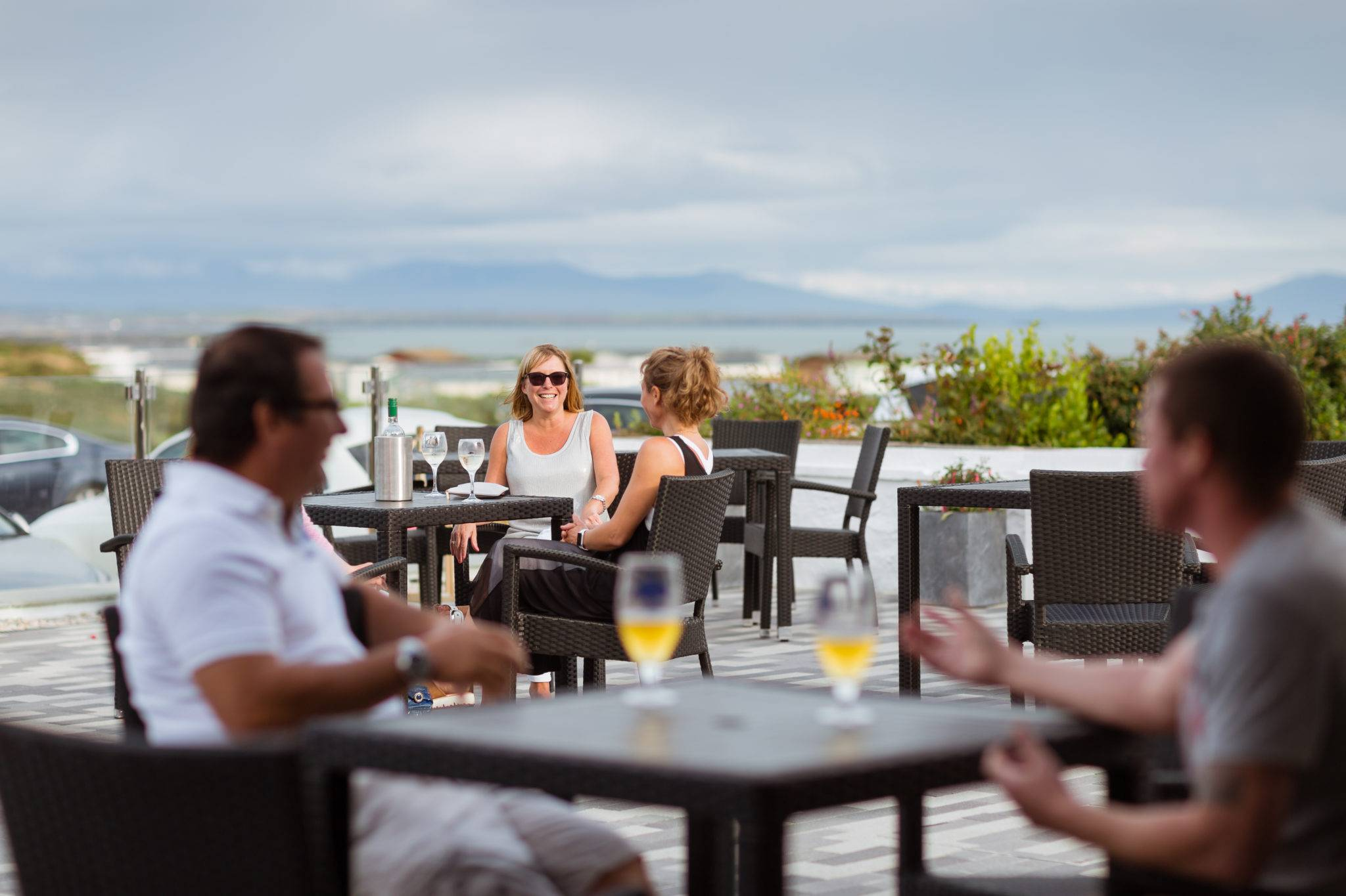 The Deck House Restaurant Bar & Lounge overlooking the Snowdonia mountains.