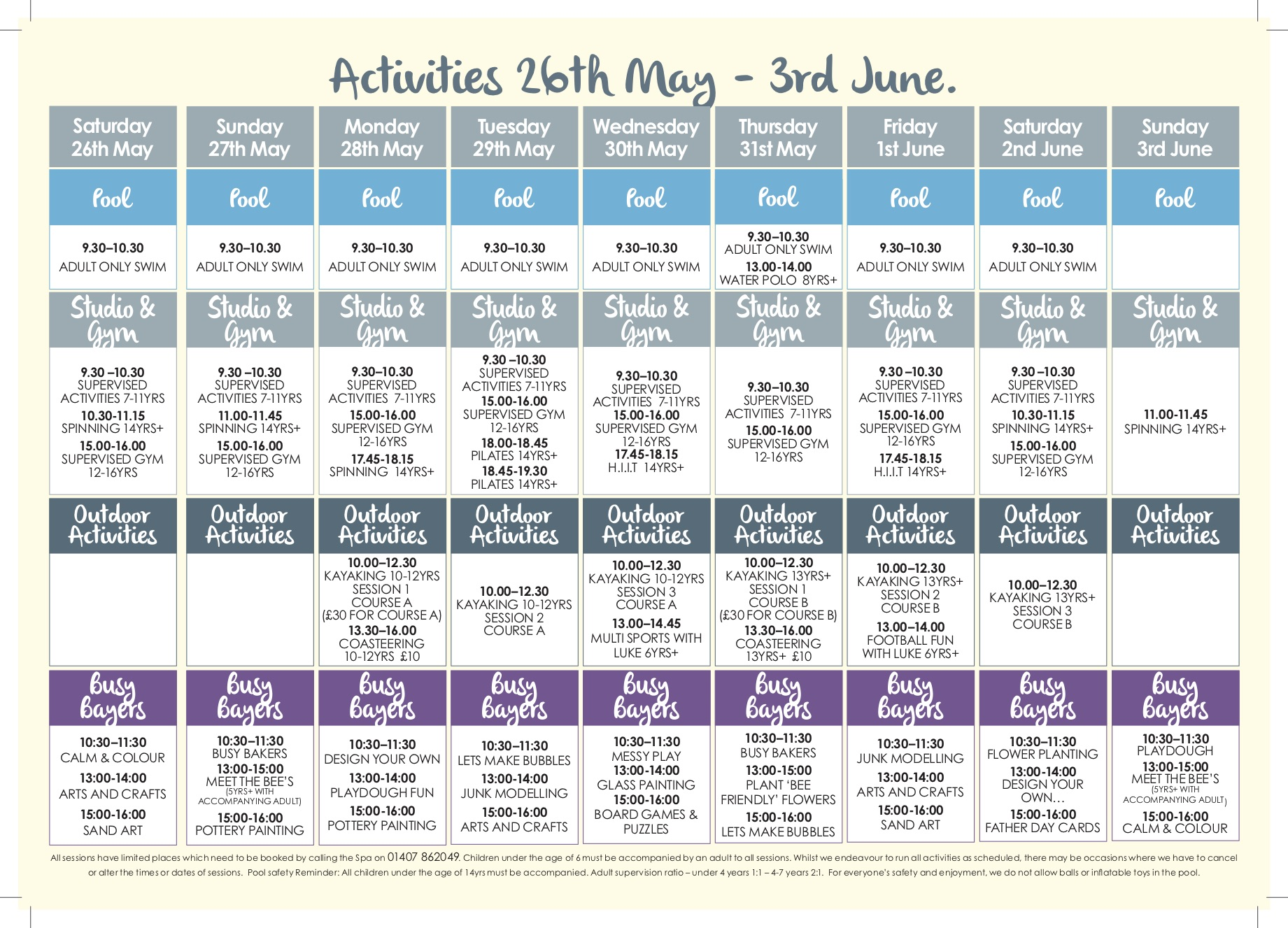 may half term activity planner