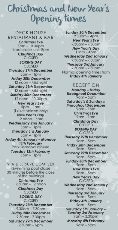 Christmas activities and opening times at Silver Bay Holiday Village