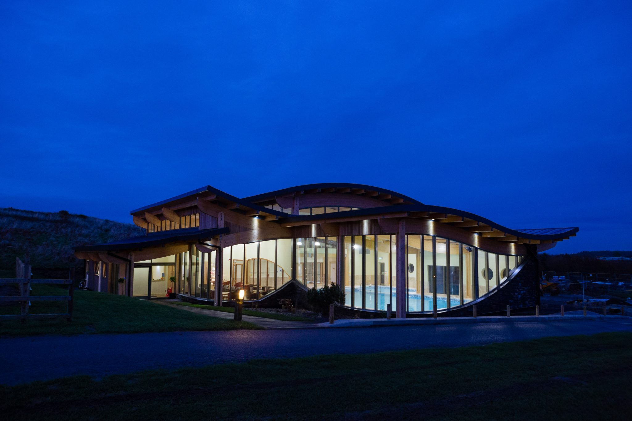Exterior of Silver Bay spa at night