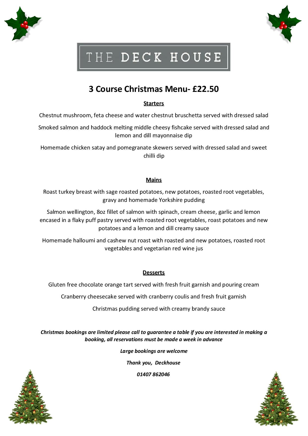 Silver Bay Christmas menu 2019