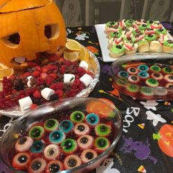 Spooky food at the Halloween party at Silver Bay