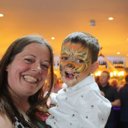 boy with tiger face paint